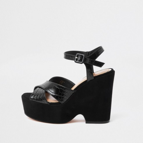 River Island Black Cross Strap Platform Wedges Chunky