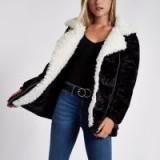 River Island Black faux fur trim biker puffer jacket – mono winter coats
