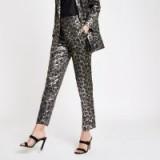 RIVER ISLAND Black leopard print jacquard trousers | shiny pants