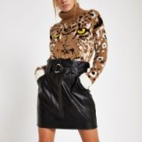RIVER ISLAND Black paperbag D-ring mini skirt | gathered waist design