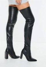MISSGUIDED black pu knee high heeled boots – long shiny boots