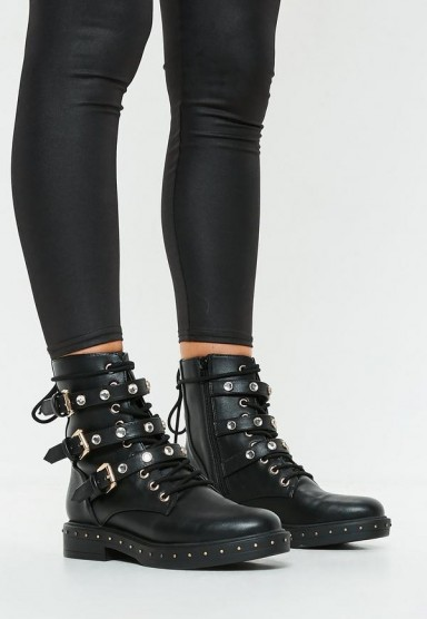MISSGUIDED black triple strap mid embellish hiker boots – studded buckle boot