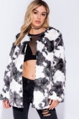 Parisian BLACK WHITE EDGE TO EDGE MID LENGTH COLLARLESS FAUX FUR JACKET – monochrome jackets