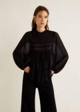 MANGO Blonda panel blouse in black – VICTORY | frill neckline | gathered bodice
