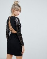Boohoo long sleeve sequin bodycon mini dress with lace up back detail in black – glamorous LBD