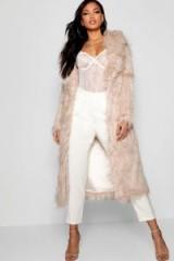 boohoo Boutique Mongolian Maxi Faux Fur Coat in Natural | longline shaggy winter coats