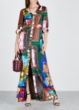 BOUTIQUE MOSCHINO Patchwork scarf print satin maxi dress ~ multi prints