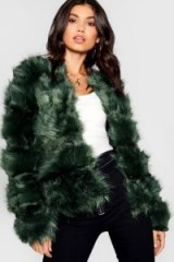 boohoo Boutique Panelled Faux Fur Coat in Green