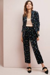 ett:twa Brittany Printed-Corduroy Trousers in Black Motif / floral cropped cords