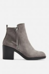 TOPSHOP BRITTNEY Unit Boots in Grey – chunky heel side zip ankle boot