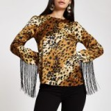 River Island Brown leopard print tassel long sleeve top – fringed tops