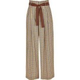 River Island Brown printed wide leg belted trousers