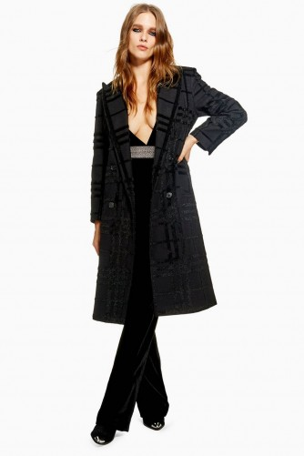 TOPSHOP Brushed Check Coat – black winter coats