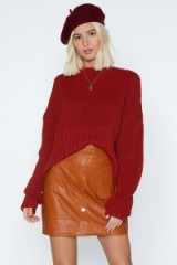 NASTY GAL Button-Down on Me Faux Leather Skirt in Tan – brown tone fashion