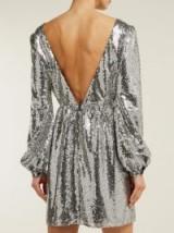 SALONI Camille silver sequinned mini dress ~ deep V-back