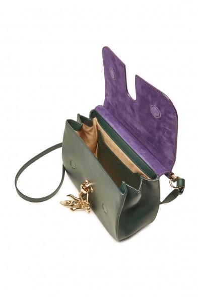CARVEN Big Sac Charms Purple Suede and Green Leather Handbag