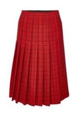 CARVEN Red Check Print Virgin Wool Midi Skirt