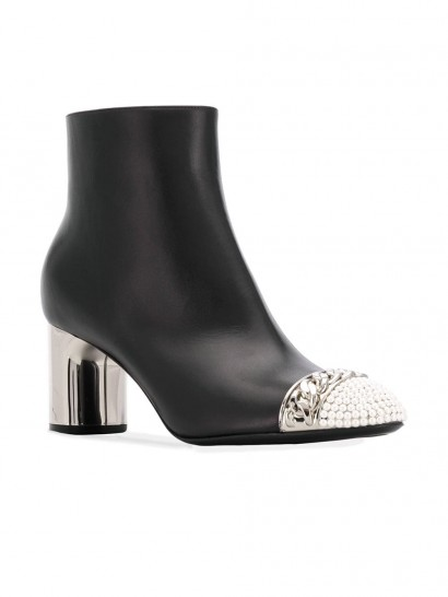 CASADEI embellished toe black leather ankle boots
