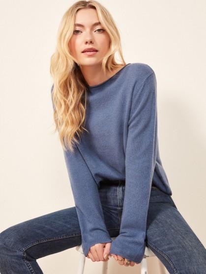 Reformation Cashmere Boyfriend Sweater in Blue | casual luxe knitwear