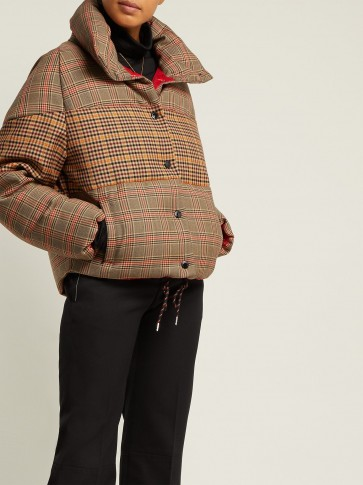 MONCLER Cer checked wool-blend jacket / camel-brown checks