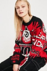Cheap Monday Show Love Knit Jumper in Red Multi / slogan knitwear