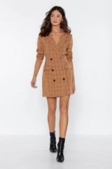 NASTY GAL Check Her Go Blazer Dress in Tobacco – brown tone checks