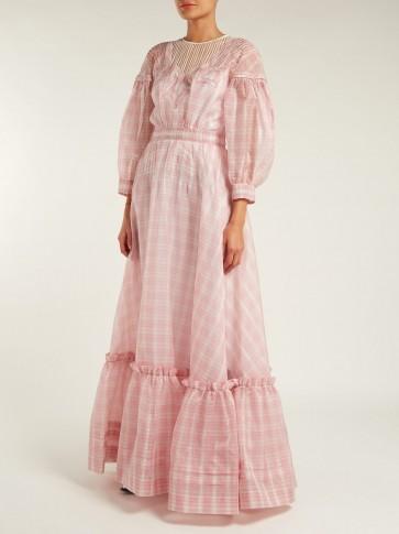 CALVIN KLEIN 205W39NYC Pink Checked silk-organza gown / romantic checks