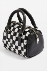 Topshop Checkerboard Bowler Bag in Monochrome | black and white beaded checks
