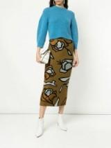 CHRISTIAN WIJNANTS rose knit skirt in tan