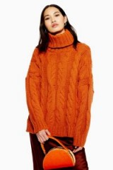 Topshop Chunky Cable Roll Neck Jumper in Tobacco | snugly high neck sweater
