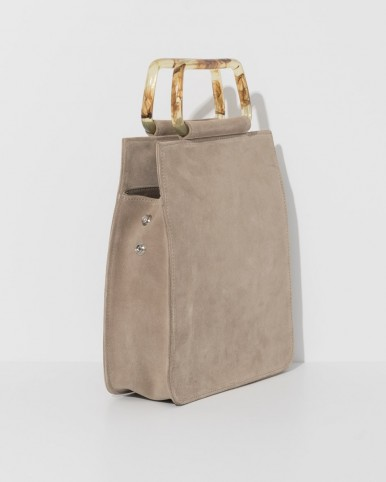 CLYDE sand rectangle sued bag with acrylic handles