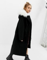 COLLUSION Petite parka jacket with fur lined hood in black – mono longline winter coats