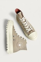 Converse Chuck Taylor All Star Lift Ripple Beige High Top Trainers – sporty shoes