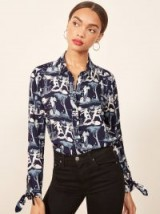 Reformation Corinne Top in Delphi | tie cuff printed shirt