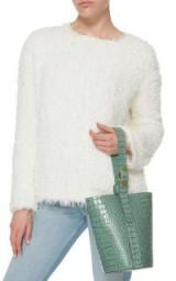 Trademark Green Crocodile Embossed Small Classic Bucket Bag ~ luxe handbags