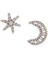 JENNIFER BEHR Crystal Moon and Star Mismatched Earrings – celestial jewellery – clear crystals