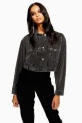 Topshop Crystal Pin Stud Jacket in Washed Black   embellished denim