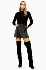 Topshop Crystal Pin Stud Skirt in Washed Black