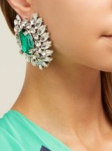 BALENCIAGA Green and Clear Crystal-embellished floral stud earrings ~ big and beautiful flower jewellery