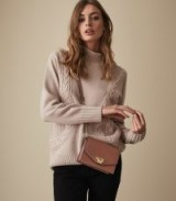 REISS DALIA FUNNEL NECK JUMPER BISQUE ~ luxe cable knit sweater