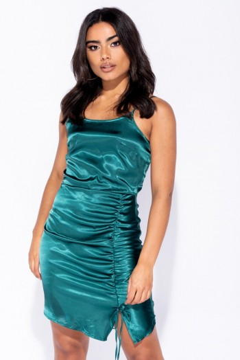 Parisian DARK GREEN SATIN SIDE RUCHING DETAIL MINI DRESS ~ slinky gathered dresses