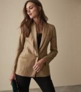 REISS DASHELLE SATIN FACED METALLIC BLAZER GOLD ~ tailored evening jacket
