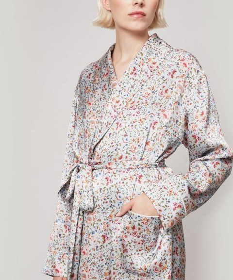 LIBERTY LONDON Delilah Silk Satin Long Robe / floral robes - flipped