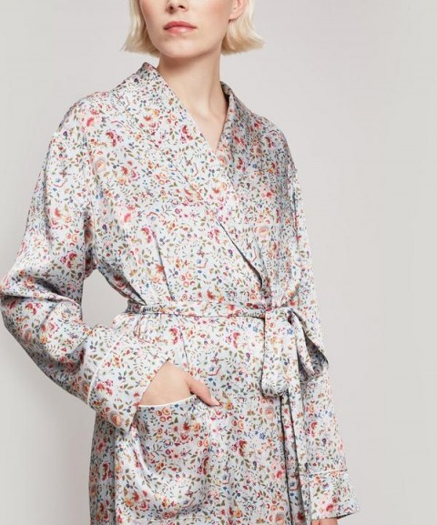 LIBERTY LONDON Delilah Silk Satin Long Robe / floral robes