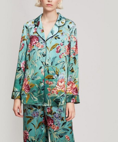 LIBERTY LONDON Desert Rose Silk Satin Long Pyjama Set in Green / floral nightwear