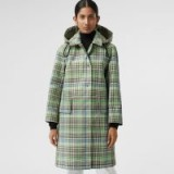 BURBERRY Detachable Hood Check Bonded Cotton Car Coat in Tourmaline green / stylish showerproof checks