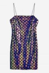 TOPSHOP Diamond Sequin Slip Dress in Blue – sparkly cami dress