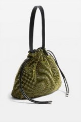 Topshop Dina Diamante Drawstring Bag in Yellow | small embellished pouch bag