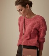 REISS DINAH MOHAIR BLEND PATTERNED JUMPER PINK ~ rose colored knitwear