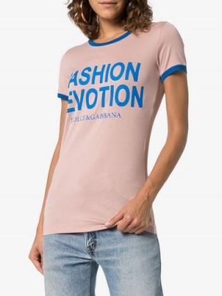 Dolce & Gabbana Fashion Devotion Print Pink Cotton T Shirt / slogan & logo tee